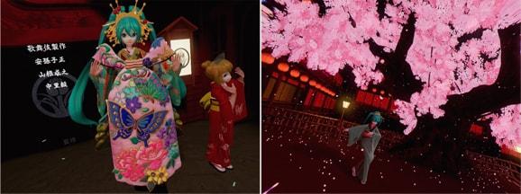 超歌舞伎VRの初音ミクと桜吹雪